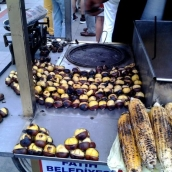 Roasted chestnuts and corn