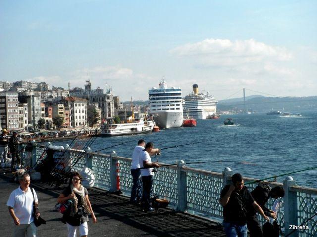 Istanbul port area and the Galata Bridge