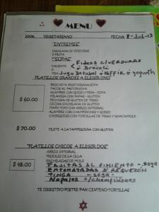 Restaurante Vegetariano D.F. menu